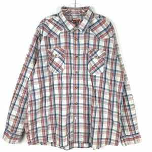 Wrangler pearl snap western plaid shirt